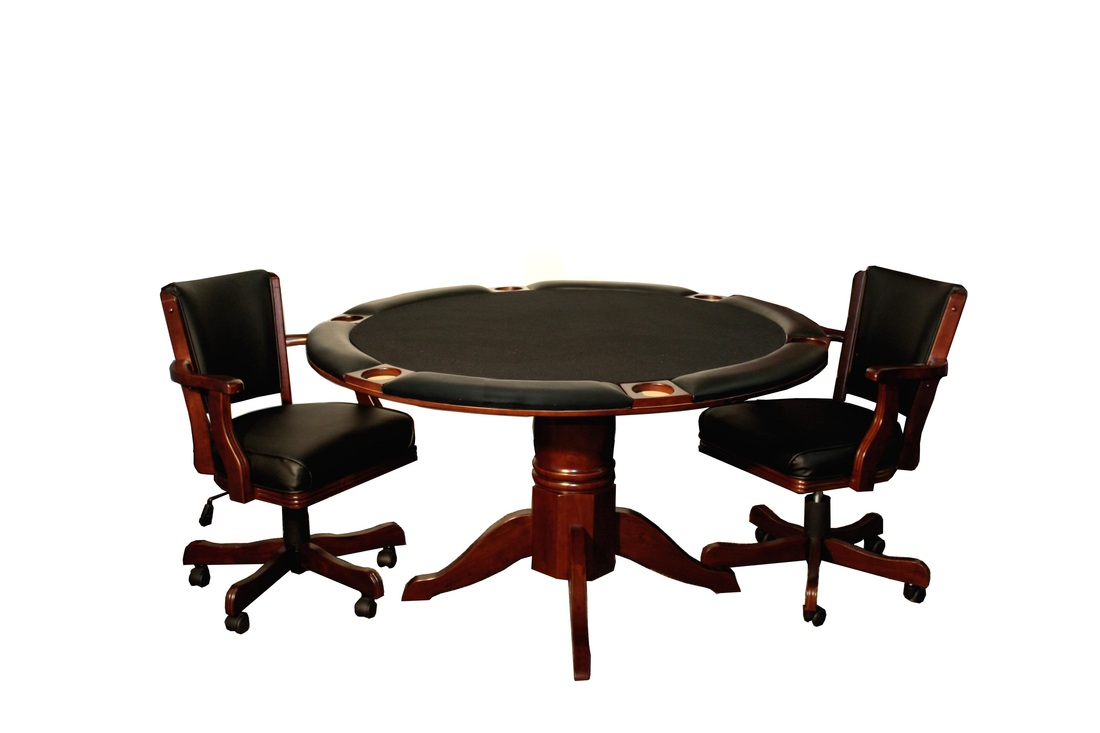 Poker table chairs - The Round Poker Table Also Comes In A Chestnut Mahogany And Espresso Finish The Table Measures 54 Inches In Width It Is Available With Or Without Chip