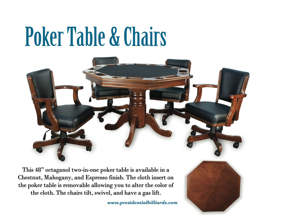 Octagonal Two In One Poker Table Comes As A Set With Chairs Or Separately.